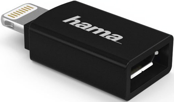 цена Адаптер Hama H-178400 micro USB (f)-Lightning черный (00178400)