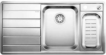 Кухонная мойка BLANCO AXIS 6 II S-IF (чаша справа) нерж.сталь зеркальная полировка с клапаном-автоматом  мойка axia ii 6 s f rock grey 518834 blanco