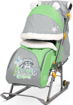 Санки-коляска Nika Kids НД6 Ника Детям 6 Енот зеленый/серый санки коляска nika умка 3 1 у 3 1 вязаный бирюза