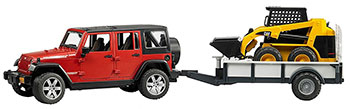 Внедорожник Jeep Wrangler Unlimited Rubicon Bruder c прицепом-платформой и колёсным мини погрузчиком CAT 02-925 2 piece set locking hood look catch hood latches kit for jeep wrangler jk rubicon sahara unlimited 2007 2016
