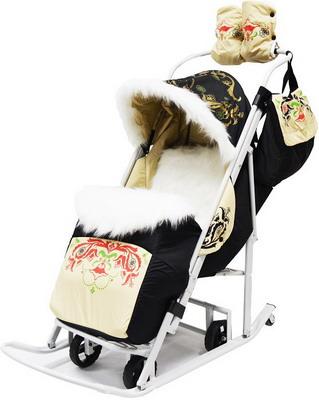 Санки-коляска Мо Детство МД-ТТ03 Тяни-Толкай-3 Тюбетейка бежевая санки коляска nika умка 3 1 у 3 1 вязаный бирюза