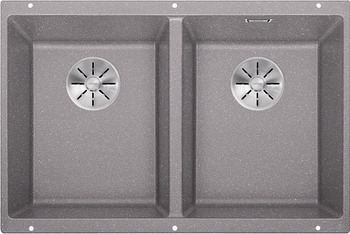 Кухонная мойка BLANCO SUBLINE 350/350-U SILGRANIT алюметаллик с отв.арм. InFino 523576 мойка subline 350 150 u cer basalt 516976 blanco