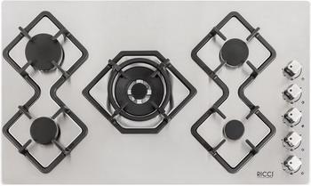 Встраиваемая газовая варочная панель Ricci RGN-КА5041 IX Нерж сталь встраиваемая комбинированная варочная панель ricci rkn 4t 1031 ix