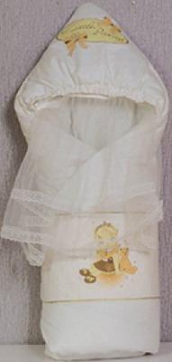 Одеяло-конверт Маргарита С капюшоном накидка из вуали весна-осень синтепон пл. 200 (шампань) маргарита одеяло конверт на выписку маргарита велюровое с рюшей и уголком весна осень синтеп
