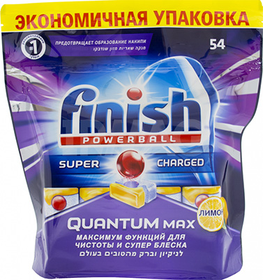 Таблетки для мытья посуды FINISH Quantum MAX Лимон 54 шт