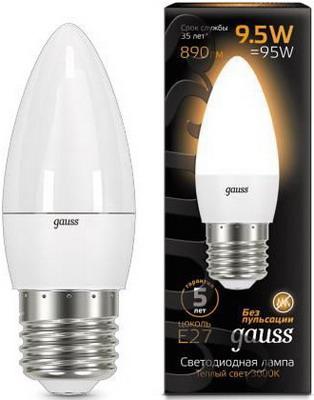 Лампа GAUSS LED Candle E 27 9.5W 3000К 103102110 gauss лампа светодиодная gauss candle свеча матовая e27 9 5w 3000к 103102110
