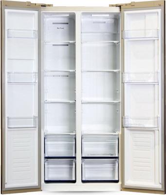 все цены на Холодильник Side by Side Ginzzu NFK-465 золотистое стекло онлайн