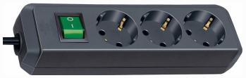 Удлинитель Brennenstuhl Eco-Line 3м 3 роз/заземл черный (1152300400) удлинитель бытовой brennenstuhl eco line 3 гн с заземл 5 м выключатель черный