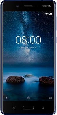 Мобильный телефон Nokia 8 Dual sim матовый синий + наушники беспроводные JBL V 310 BT