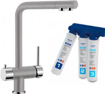 Комплект смеситель BLANCO FONTAS II алюметаллик + фильтр BWT-БАРЬЕР EXPERT STANDARD blanco fontas гранит серый беж