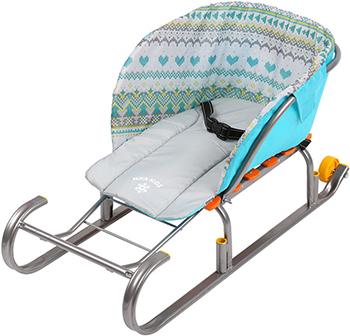 Сиденье для санок Nika Kids (без чехла для ног) вязаный узор бирюза СС2-1