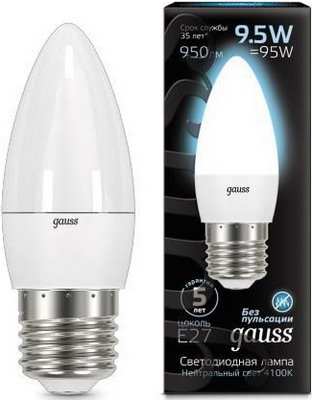 Лампа GAUSS LED Candle E 27 9.5W 4100К 103102210