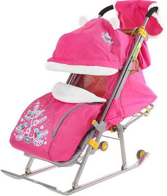 Санки-коляска Nika Kids НД6 Ника Детям 6 Снегири розовый санки коляска nika умка 3 1 у 3 1 вязаный бирюза