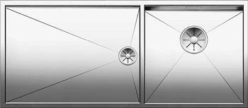 Кухонная мойка BLANCO ZEROX 400/550-Т-IF (чаша справа) нерж. сталь зеркальная полировка без клапана авт 521604 кухонная мойка blanco axis iii 6s if чаша слева нерж сталь зеркальная полировка с кл авт 522105