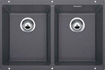 Кухонная мойка BLANCO SUBLINE 350/350-U SILGRANIT темная скала с клапаном-автоматом цена и фото