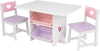Набор мебели KidKraft ''Heart'' (стол 2 стула 4 ящика) 26913_KE