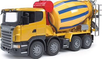 Бетономешалка Bruder Scania (цвет жёлто синий) 03-554 машины bruder лесовоз scania с портативным краном и брёвнами