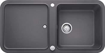 Кухонная мойка BLANCO YOVA XL 6S SILGRANIT темная скала с клапаном-автоматом InFino 523595 кухонная мойка blanco dalago 6 silgranit темная скала с клапаном автоматом