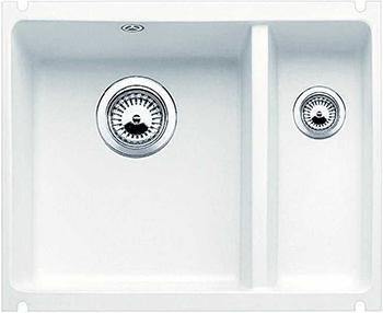 Кухонная мойка BLANCO 523743 SUBLINE 350/150-U керамика матовый белый PuraPlus с отв.арм. InFino кухонная мойка blanco 523738 subline 500 u керамика серый алюминий puraplus с отв арм infino