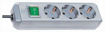 Удлинитель Brennenstuhl Eco-Line 1 5м  3 роз/заземл металик (1152340015) удлинитель бытовой brennenstuhl eco line 10 гн с заземл 3 м выключатель белый
