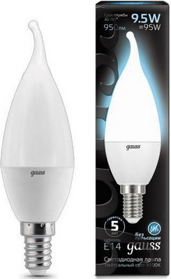 Лампа GAUSS LED Candle tailed E 14 9.5W 4100 K 104101210 лампа gauss led elementary candle 10 w e 14 4100 k 33120