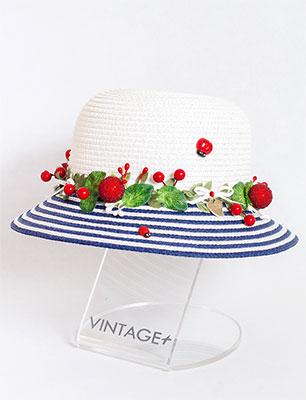 Шляпка Vintage Время Чудес бело-синий помпон болельщицы бело синий