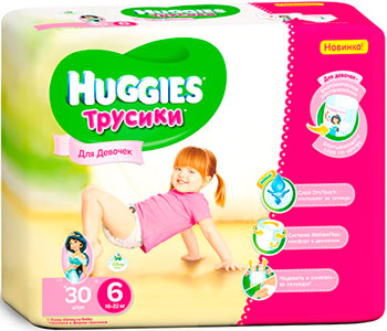 Трусики-подгузники Huggies Annapurna Размер 6 16-22кг 30шт для девочек huggies подгузники трусики для мальчиков 16 22 кг размер 6 44 шт