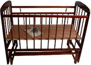 Детская кроватка Уренская мебельная фабрика Мишутка-11 маятник универсальный  Темная обычная кроватка уренская мебельная фабрика мишутка 11 темная