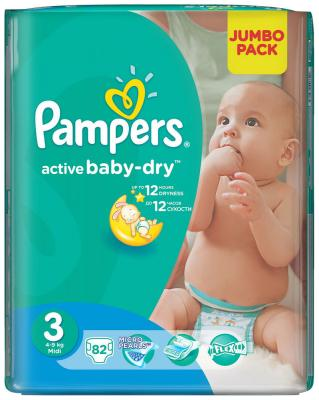 Подгузники Pampers Activ Baby-Dry 4-9 кг 3 размер 82 шт huggies classic подгузники disney baby 3 4 9 кг 31 шт