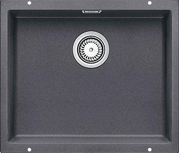 Кухонная мойка BLANCO SUBLINE 500-U SILGRANIT темная скала с клапаном-автоматом  цена и фото