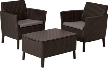 Комплект мебели Allibert Salemo balcony set коричневый 17205935 комплект мебели allibert corona set with cushion box капучино 17198017