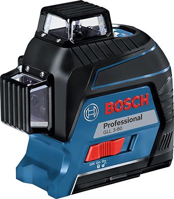 Лазерный нивелир Bosch GLL 3-80 кейс 0601063 S 00 уровень bosch gll 3 80 кейс 0 601 063 s00 30м с приемником 120м ±0 2мм м