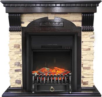 Каминокомплект Royal Flame Dublin арочный сланец с очагом Fobos FX BL (темный дуб) 56211164923893