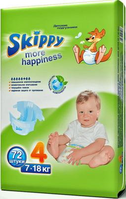 Подгузники Skippy More Happiness р-р4 (7-18кг) 72 шт подгузники skippy premium р р 3 4 9 кг 84 шт