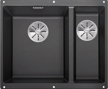 Кухонная мойка BLANCO SUBLINE 340/160-U SILGRANIT антрацит (чаша слева) с отв.арм. InFino 523548 кухонная мойка blanco subline 340 160 u silgranit жемчужный чаша слева с отв арм infino 523551