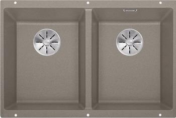 Кухонная мойка BLANCO SUBLINE 350/350-U SILGRANIT серый беж с отв.арм. InFino 523581 мойка subline 350 150 u cer basalt 516976 blanco