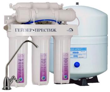 Система обратного осмоса Гейзер Престиж  бак 7 6 (20010) фильтр обратного осмоса гейзер престиж м бак 12л кран 7 20007