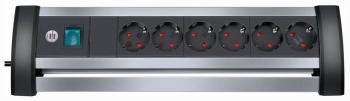 Удлинитель Brennenstuhl Alu-Office-Line 3 м  6 роз/заземл (1394000416) удлинитель бытовой brennenstuhl eco line 3 гн с заземл 5 м выключатель черный