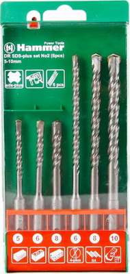 Бур Hammer 201-902 DR SDS+ set No2 (6pcs) 5/6/8 X 110 6/8/10 X 160 набор буров metabo 626244000 7шт sds classic 5 6 8 6 8 10 12мм