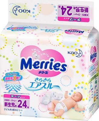 Подгузники Merries 5 кг/24 шт подгузники merries m 6 11 кг 64 шт