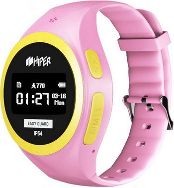 Детские часы с GPS поиском Hiper EasyGuard PINK (EG-01 PNK) hiper easyguard розовый