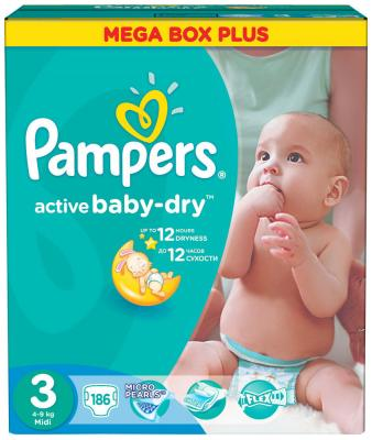 подгузники pampers new baby dry mini 3 6кг 27шт 4015400537397 Подгузники Pampers Activ Baby-Dry 4-9 кг 3 размер 186 шт