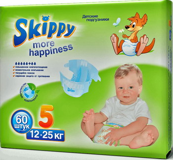 Подгузники Skippy More Happiness р-р5 (12-25кг) 60 шт greenty подгузники greenty 5 13 кг 32 шт