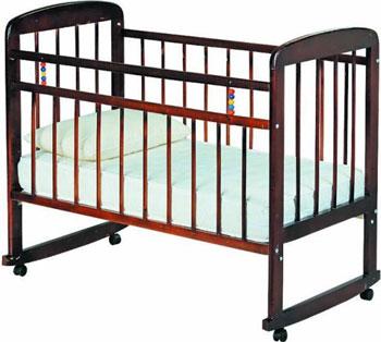 Детская кроватка Уренская мебельная фабрика Мишутка-8 колесо-качалка  Темный