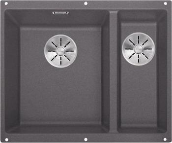 Кухонная мойка BLANCO SUBLINE 340/160-U SILGRANIT темная скала (чаша слева) с отв.арм. InFino 523549 кухонная мойка blanco subline 340 160 u silgranit жемчужный чаша слева с отв арм infino 523551