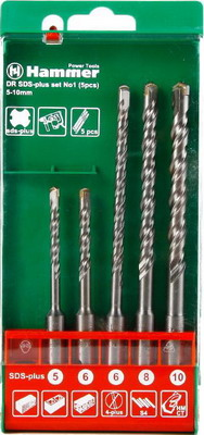 Бур Hammer 201-901 DR SDS+ set No1 (5pcs) 5/6 X 110  6/8/10 X 160  hammer 203 901 pb set no1 7pcs ph pz sl 7шт