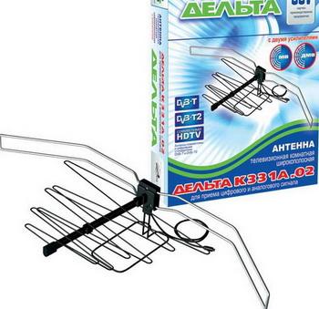 ТВ антенна DELTA К331А.02 всеволновая тв антенна дельта к331а 03 комнатная с усилителем черная