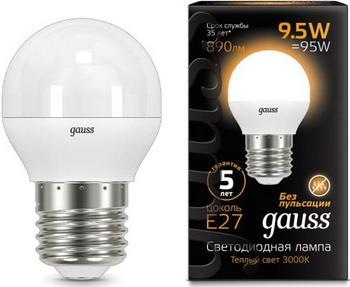 Лампа GAUSS LED Globe E 27 9.5W 3000 K 105102110 лампа gauss led globe e 27 6 5w 2700 k 105102107