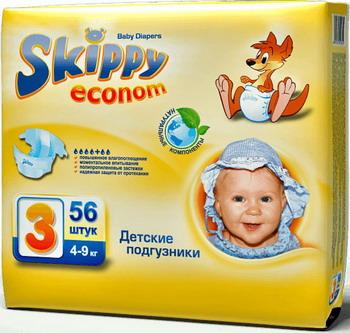Подгузники Skippy Econom р-р3 (4-9кг) 56 шт подгузники skippy premium р р 3 4 9 кг 84 шт