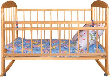 Детская кроватка Уренская мебельная фабрика Мишутка-8 колесо-качалка  Светлый